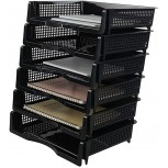 EudokkyNA 6-Tier Stackable Paper Tray Black Desk Letter Tray Office Products B0861B2R85