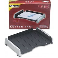 Fellowes 8031701 Office Suites Side Load Letter Tray Plastic Black Silver Office Products B01IQG1SPA