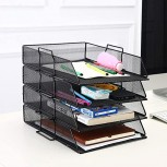 File Shelf 4 Sets of Stackable Document Tray Office Letter Tray Made of Metal for DIN A4 Desk Tray 34x25 × 6.5cm-Black Office Products B0892BYH7F