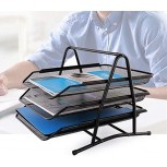 File Sorter Organizer 3 Tier Stackable Desktop Document Letter Tray Organizer Mesh Document Letter Mail Tray Sorter for Office or Home Color Black Size 35x29.5x25cm Office Products B089N9MQYB