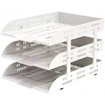 Jinxin-Office Products File Tray 3 Layers Plastic File Frame Finishing Data Storage Rack Multi-Layer File Rack Light Grey Office Products B07TXZKL3S