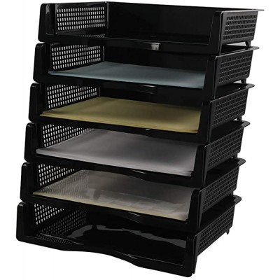 Kekow Plastic A4 Size Desk Organizer Document Letter Tray Holder 6 Tier Black F Office Products B07W39LN32