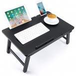 Lap Desk Nnewvante Bed Tray Table Foldable Laptop Desk Bamboo Breakfast Serving Tray w' Tilting Top Drawer Tablet Slots Black Office Products B088GTZM6M