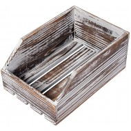 Liry Products Torched Wood Paper Nesting Tray Stackable Document Storage Crate File Organizer Whitewashed Tabletop Wooden Box Basket Letter Holder Folder Rack Desktop Home Office Supplies Jewelry Office Products B07S3NCX3G