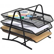 Mesh Desk Organizer AGPtEK 3 Tier Letter Tray Organizer Office Desktop Document Paper File Storage Mesh Filling Collection for Home &Office Use Black Office Products B072XCL4HY
