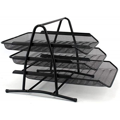 Mesh Folder Letter Tray 3 Tier File Trays Office File Shelf Desk Organiser Paper Document Storage Holder Filing Trays for Home Office Use Color Black Size 27.5x34x25.5cm Office Products B08F2JB2P5