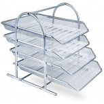 Mesh Letter Tray 4 Tier Letter File Trays Office File Shelf Mesh Desk Organiser Paper File Storage Filing Trays Holder for Documents Mail Paper Letters Files Holder & Sorter Sliding Trays Silver Office Products B08J892VTP