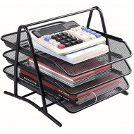 Metal Mesh 3 Tier Office A4 Filing Tray Desk Tidy File Holder Desktop Document Storage Letter Paper Organiser Color Black Size 27.8x35x27.5cm Office Products B08DXWC41M
