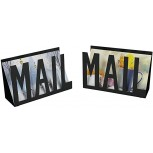 NACTECH 2pcs Mail Holder Metal Mail Organizer Cutout Design File Holder Keep Neat Bill Filing Paper Document for Office Home School Counter Office Products B07XJMT7PM