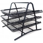 NYKK File Rack Grid Tray Desktop Manager 2-Layer Stacked Folder Tray Black Steel Grid Organizer Suitable for Office Home School Mail Room Filing Trays Color Black Size 3 Layer Office Products B08K41YR67
