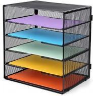 ProAid Desk Letter Tray Organize Mesh Desktop File Organizer with 5 Tier Paper Size Shelves Black Office Products B0817HSZKT