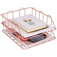SUYING Metal File Document Letter Tray Organizer Stackable 3-Tier Mesh Desk Organizer Office Supplies for A4 Paper Magazine Newspaper Rose Gold Office Products B08FBQRY3W