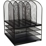 Safco Products Onyx Mesh 5 Sorter 3 Tray Desktop Organizer 3266BL Black Powder Coat Finish Durable Steel Mesh Construction File Folder Racks Office Products B0012YVZJI