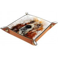 Storage Boxes Small Animal Dog Watercolor Painting Leather Valet Tray Desktop Storage Organizer for Wallets Watches Keys Coins Cell Phones and Office Equipment Office Products B081DY2B5Y