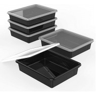 Storex Flat Storage Tray with Lid Letter Size 10 x 13 x 3 Inches Black 5-Pack 62535U05C Office Products B07R89XW2V