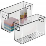 mDesign Plastic Home Office Storage Organizer Bin with Handles - Container for Cabinets Drawers Desks Workspace - BPA Free - for Pens Pencils Highlighters - 4 Wide 2 Pack - Smoke Gray Office Products B07MVJ945G