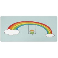 AmaUncle Desk Pad Office Desktop Protector Rainbow Cartoon Girl Swinging On A Rainbow Rubber Desk Mat Blotters Organizer with Comfortable Writing Surface W35.4 x L15.7 AM027393 Office Products B08GQWX48R