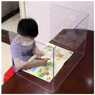 BGF LY Sneeze Guard Shield Acrylic, Safety Desk Protective Foldable Sneeze Defense,School Trifold Transparent Clear Student Super Strong Desk Shield,Office Desk Dividers Office Products B08HL376WT