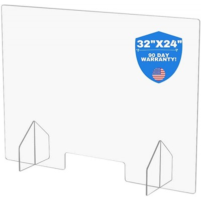 Large Protective Sneeze Guard for Counter Tops and Desks - 32x24 Free Standing Clear Acrylic Shield Perfect for Small Businesses Corporate Offices Restaurants Hotels Schools Gyms delis etc Office Products B08CK9DZMZ