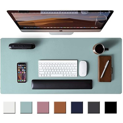 Leather Desk Pad Protector Mouse Pad Office Desk Mat Non-Slip PU Leather Desk Blotter Laptop Desk Pad Waterproof Desk Writing Pad for Office and Home Light Blue 31.5 x 15.7 Office Products B088DB4MVZ
