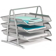 Mindspace 3 Tier Desk Tray Office Organizer | The Mesh Collection Silver Office Products B01K0AJ8RU