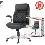 NOUHAUS +Posture Ergonomic PU Leather Office Chair. Click5 Lumbar Support with FlipAdjust Armrests. Modern Executive Chair and Computer Desk Chair Black Office Products B083SN1J2T