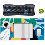 Non-Slip Locking Table Mat Waterproof Soft Desk Writing Pad Laptop Computer Desk Table Protector for Office and Home Color Tropical Palm Leaf Bird Decor Desk Accessories Office Products B08JZ1NH82