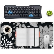 Non-Slip Locking Table Mat Waterproof Soft Desk Writing Pad Laptop Computer Desk Table Protector for Office and Home Grey White Petals Lotus Decor Desk Accessories Office Products B08JZ1RW8G