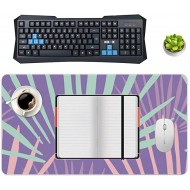 Non-Slip Locking Table Mat Waterproof Soft Desk Writing Pad Laptop Computer Desk Table Protector for Office and Home Purple Blue Leaf Line Palm Decor Desk Accessories Office Products B08JZ56LNY