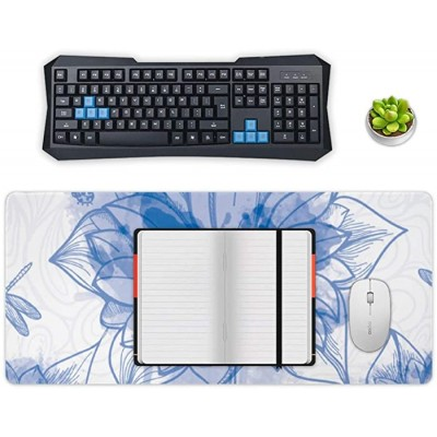 Non-Slip Locking Table Mat Waterproof Soft Desk Writing Pad Laptop Computer Desk Table Protector for Office and Home White-Purple Lotus Decor Desk Accessories Office Products B08JZ4M866