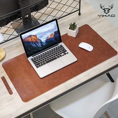 Yikda Extended Leather Gaming Mouse Pad Mat Large Office Writing Desk Computer Leather Mat Mousepad Waterproof Ultra Thin 1.2mm - 31.5x15.7 Dark Brown Office Products B076QD69KR