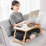 Adjustable Bamboo Laptop Table Portable Standing Desk Breakfast Table Tray Computer Workplace with Drawer for Home Office White 55x35x30cm 22x14x12inch Office Products B08J6FLHPX