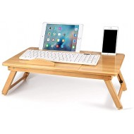 Bamboo Notebook Table Folding Laptop Desk Dorm Desk Bed Desk Serving Tray Breakfast Table Coffee Tea Table Standing Desk for Bed and Sofa Bamboo Laptop Stand with 5 Tilting Top Angles & Drawer Office Products B083DQVKPM