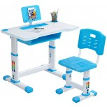 Lanhui Kisd Study Desk and Chair Set Adjustable Desktop Height with Pen Slot、Book Holder and Drawer Convenient Storage Boys and Girls School Family Reading Homework Desk for School Opening Blue Office Products B08GFMGX34