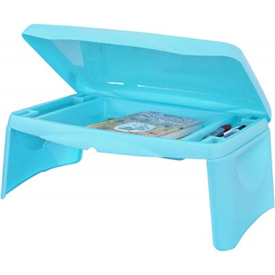 Lap Desk for Kids - Folding Lap Desk with Storage 17x11 - Aqua Blue Color - Durable Lightweight Portable Laptop Computer Children's Drawing Desks for Homework or Reading. No Assembly Required. Office Products B077DV9HMZ