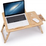 Laptop Desk Adjustable Bamboo Breakfast Serving Bed Tray Tilting Top with Drawer Office Products B07D4LVM39