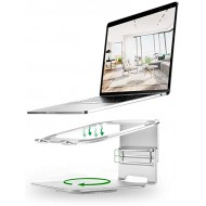 Laptop Stands Elevating Cooling Support Office Desktop Heightening Frame Base 360°Rotating Aluminum Alloy Support Frame Color Silver Size 2324.510.5-13.5cm Office Products B08C4YLP99