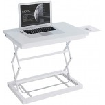 Laptop Table Standing Desk Converter with Height Adjustable Office Workstation Fold Computer Desk Non-Slip Laptop Desk Color White Office Products B088867GPN