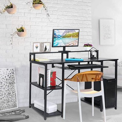 Modern Desktop Computer Desk Laptop Table Office Desk PC Laptop Notebook Writing Table Computer Desk Home Office Writing Laptop Table for Study Work 55.1 x 23.6 x 29.5 inches Black Office Products B08GHS9FDX