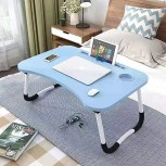 OPPIS Laptop Desk Bed Tray Foldable Lap Desk Bed Table for Breakfast Serving Notebook Table with Tablet Slots for Couch Floor for Adults Students Kids - Blue Office Products B082QVPW5V