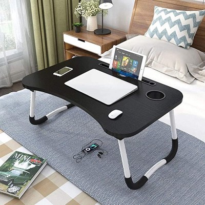 OPPIS Laptop Tray Bed Table Foldable Lap Table for Breakfast Serving Notebook Table with Tablet Slots and Holder for Couch Floor for Adults Students Kids - Black Office Products B082QPKY3N
