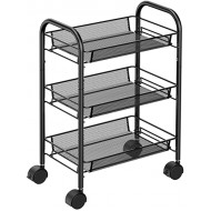 Pipishell 3-Tier Mesh Wire Rolling Cart Multifunction Utility Cart Rolling Metal Organization Cart with 2 Lockable Wheels for Home Office Kitchen Bathroom Bedroom Office Products B07X8WZBFL