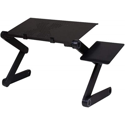 Portable Adjustable Aluminum Laptop Desk Stand Table Vented Ergonomic Tv Bed Lap Stand Up Working Office Pc Riser Bed Sofa Black Office Products B082MFL7XL