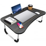 Portable Laptop Bed Table Fordable Lap Desk with Cup Slot & Notebook Stand Breakfast Bed Trays for Eating and Laptops Book Holder Lap Desk for Floor Couch Sofa Bed Terrace Balcony Black Office Products B08DTWLR3D