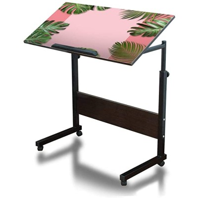 Tropical Leaves on Pink Paper Background with Copy Space Summer Banner Mobile Adjustable Over Bed Side Table Movable C Shaped Steel Frame Computer Desk for Bed Sofa Couch Home Office Dark Walnut Office Products B08JHPWS94