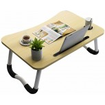 YXYH Foldable Laptop Table Lapdesk Breakfast Bed Serving Tray Portable Mini Picnic Desk Home Office Lap Desk with Phone Holder Drawer Color Natural Size A Office Products B087R16J93