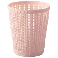 Amiley Mini Mesh Plastic Small Trash Can Wastebasket Garbage Container Bin for Bathrooms Kitchens Home Offices Dorm Rooms - Pink Green Blue Beige Pink Office Products B07PRCRMV9