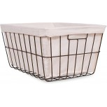 BIRDROCK HOME Office Wire Basket with Liner - Rectangular - Modern Age - Home Storage Bins - Decorative - Metal Frame - Recycle Trash Can Office Products B01HSCO1F2