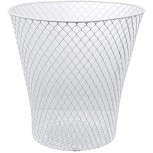 ESSENTIALS Wire Mesh Round Waste Basket | Trash Can Mesh Round Open Top Wastebasket | Recycling Bins Garbage Waste Baskets | Wire Mesh Desk Trash Can | 3-Pack Office Trash Cans White Office Products B088CSF83Y