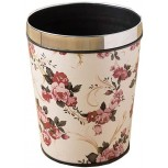 Flower Pattern Trash Can Wastebasket Round Garbage Container Bin for Bathrooms Powder Rooms Kitchens Home Offices Peony Flower Small Office Products B07W47Q3L9